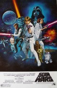 Movie poster: Star Wars (the awesome 70s semi-illustrative one of the cast pointing blasters in every direction)