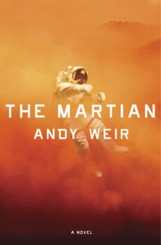 Book cover: The Martian - Andy Weir (a person in a space suit being knocked over in a sandstorm)