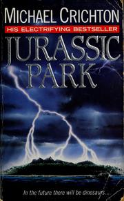 Book cover: Jurassic Park - Michael Crichton (lightning hits an island)