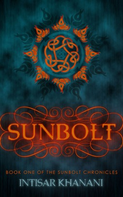 Book cover: Sunbolt - Intisar Khanani (rich red-orange text on a blue background with a geometric motif above it)