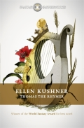 Book cover: Thomas the Rhymer - Ellen Kushner, Fantasy Masterworks edition (a harp with flowers on a white background)