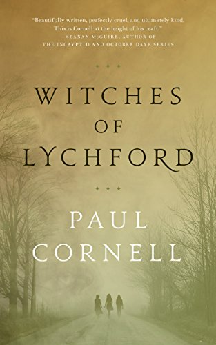 Book cover: Witches of Lychford - Paul Cornell (3 silhouettes walking down a misty avenue, in sepia tones)