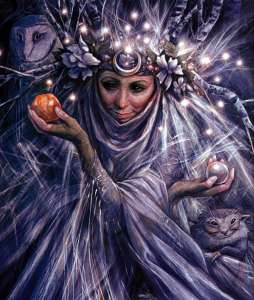 A Fairy Godmother in shades of purple, a horned moon on her brow and an apple and a crystal ball in her hands