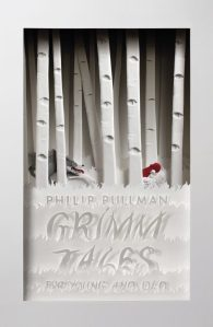 Book cover: Grimm Tales - Philip Pullman (wolf chasing Red Riding Hood through a monochrome forest)