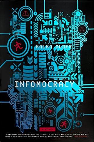 Book cover: Infomocracy - Malka Older (illustrative chip design in cyan)