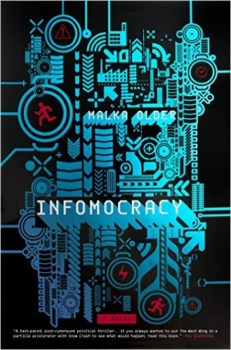 Book cover: Infomocracy - Malka Older (illustrative chip design in cyan)