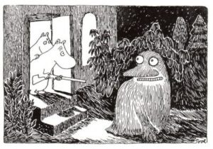 Finn Family Moomintroll have an unexpected visitor (illustration by Tove Janssen)