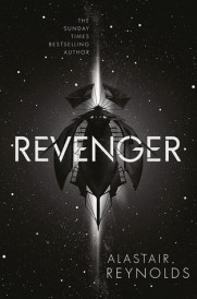 Book cover: Revenger - Alastair Reynolds (a spaceship, black on black)