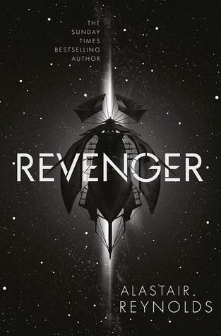 Book cover: Revenger - Alastair Reynolds (a spaceship, black on black)