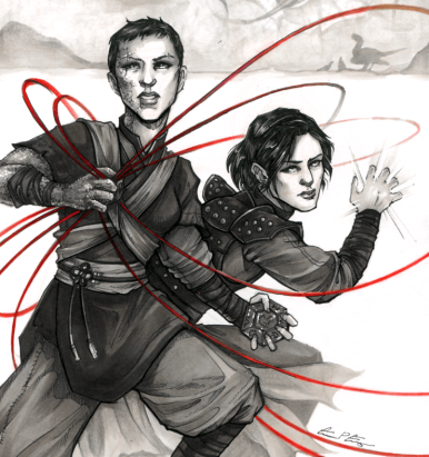 Illustration by Grace P Fong - a boy and a girl in a martial pose casting magic with red threads