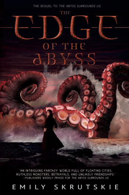 Book cover: The Edge of the Abyss - Emily Skrutskie (all the red tentacles thrashing out of the sea, faced by a girl looking back over her shoulder towards the reader)