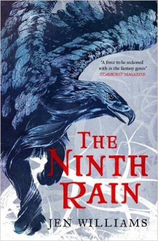 Book cover: The Ninth Rain - Jen Williams (a blue-grey eagle against a silver background)
