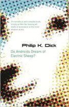 Book cover: Do Androids Dream of Electric Sheep - Philip K Dick (a digital pointilliste image of a sheeps face)