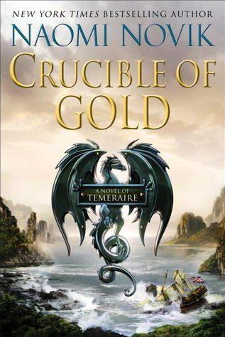 Book cover: Crucible of Gold - Naomi Novik (a black dragon emblem above a shipwreck in a mountainous bay)
