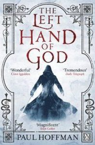Book cover: The Left Hand of God - Paul Hoffman (generic fantasy assassin complete with hood, swirly-skirted cloak and two swords)
