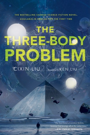 Book cover: The Three-Body Problem - Cixin Liu (a pyramid under three suns)