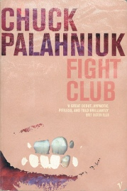 Book cover: Fight Club - Chuck Palahniuk (pale pink with pink block caps text and some teeth)
