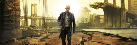 Will Smith walks towards you with a German Shepherd at his side, a destroyed NYC skyline behind him