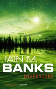 Book cover: Inversions - Iain M Banks (trees on a shoreline, reflected in the water. Full green tint)