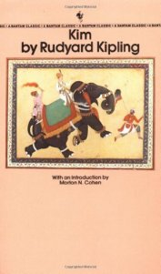Book cover: Kim - Rudyard Kipling (a peach cover, with an inset illustration of an elephant and handlers)