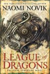 Book cover: League of Dragons - Naomi Novik (a shield boss or metal heraldic device of entwined dragons)