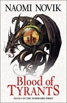 Book cover: Blood of Tyrants - Naomi Novik (black dragon entwined around a glass bauble picturing the Moscow skyline)