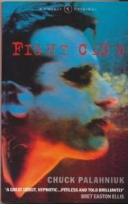 Book cover: Fight Club - Chuck Palahniuk (a man's face in profile, in shades of blue and orange)
