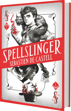 Book cover: Spellslinger - Sebastian de Castell (styled like a playing card, with a magical young man at either end)
