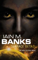 Book cover: Surface Detail - Iain M Banks (a dark skinned woman with patterned skin and even eyes stares over a flaring sun)