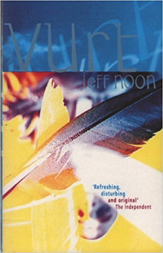 Book cover: Vurt - Jeff Noon (a blue feather against a glaring yellow background; none of the colours look real)