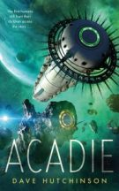 Book cover: Acadie - Dave Hutchsinon (spaceships against green spacescape)