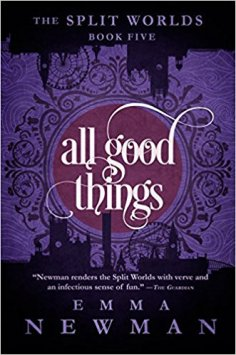 Book cover: All Good Things - Emma Newman (purple background with line art and embellished font)