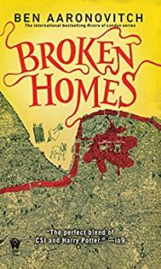 Book cover: Broken Homes - Ben Aaronovitch (bloodstained London streetmap in yellow and red)