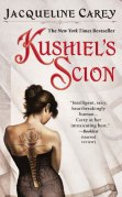Book cover: Kushiels Scion - Jacqueline Carey (a brunette in a black corset with her hair in a bun and her back to camera, showcasing her barbed rose tattoo)