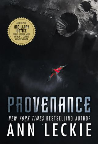 Book cover: Provenance - Ann Leckie (a small red spaceship in flight)