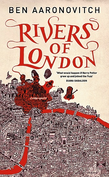 Book cover: Rivers of London - Ben Aaronovitch (a snarkily contextual map of London, with a suggestively bloodstained West End)