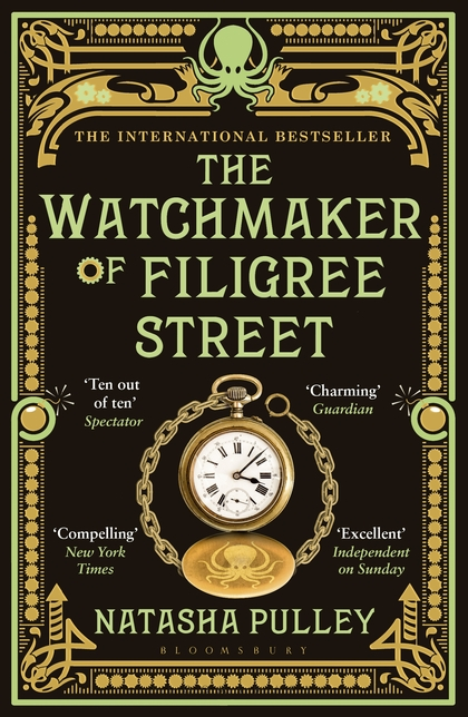 Book cover: The Watchmaker of Filigree Street - Natasha Pulley (a gold pocket watch on a black background, with ornamental framing)