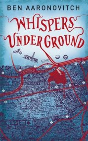 Book cover: Whispers Underground - Ben Aaronovitch (an artistic take on a London streetmap, dripping blood)