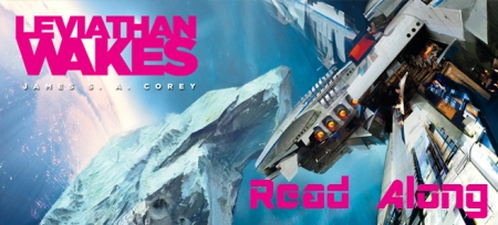 Banner: glimpse of a space ship above Saturn - text reads Leviathan Wakes Read Along