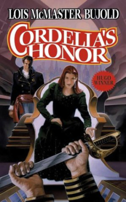 Book cover: Cordelias Honor - Lois McMaster Bujold (someone holds out a knife to a seated woman)
