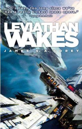 Book cover: Leviathan Wakes - James S A Corey (a spaceship nearing an asteroid)
