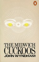Book cover: The Midwich Cuckoos - John Wyndham (stylized image of golden eyes staring out of radiating lines)