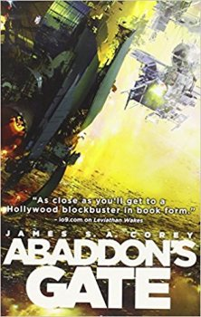 Book cover: Abaddon's Gate - James S A Corey (view up the side of a spacecraft above a planet lost in yellow haze)