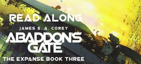 Banner: Abaddon's Gate Read-along (text over inset from cover art - a spaceship against a yellow sky)