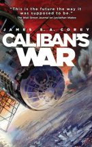 Bok cover: Calibans War - James S A Corey (a space station above a planet, red background sky)