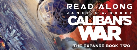 Banner: glimpse of a space station in orbit - text reads Caliban's War Read Along