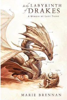Book cover: In The Labyrinth Of Drakes - Marie Brennan drawing of a dragon as hatchling, 3 year old and adult