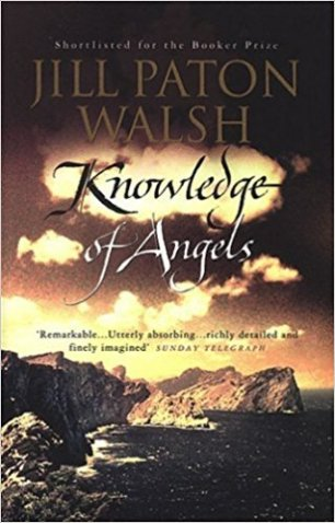 Book cover: Knowledge of Angels - Jill Paton Walsh (a sepia tinged image of a coastline)