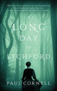 Book cover: A Long Day in Lychford - Paul Cornell - a woman silhouetted against trees