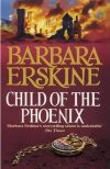 Book cover: Child of the Phoenix - Barbara Erskine a castle burning and a phoenix medallion
